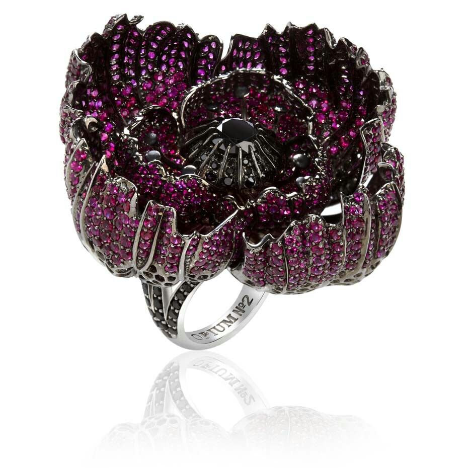 Sybarite Poppy ring with blackened gold, rubies and black diamonds.