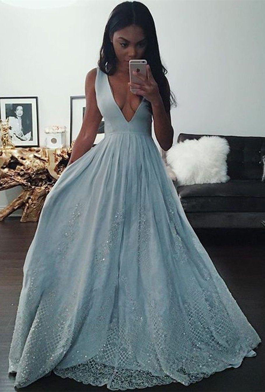 Aline deep vneck light blue appliques beading long prom dress