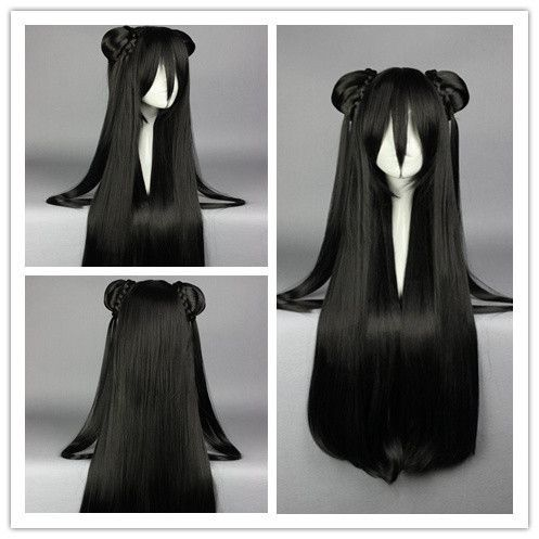 85cm Synthetic Long Straight Black Anime Wig Cosplay Costume Wig With Two Ponytail Alternative Measures Cabelo Kawaii Penteados Fofos Perucas