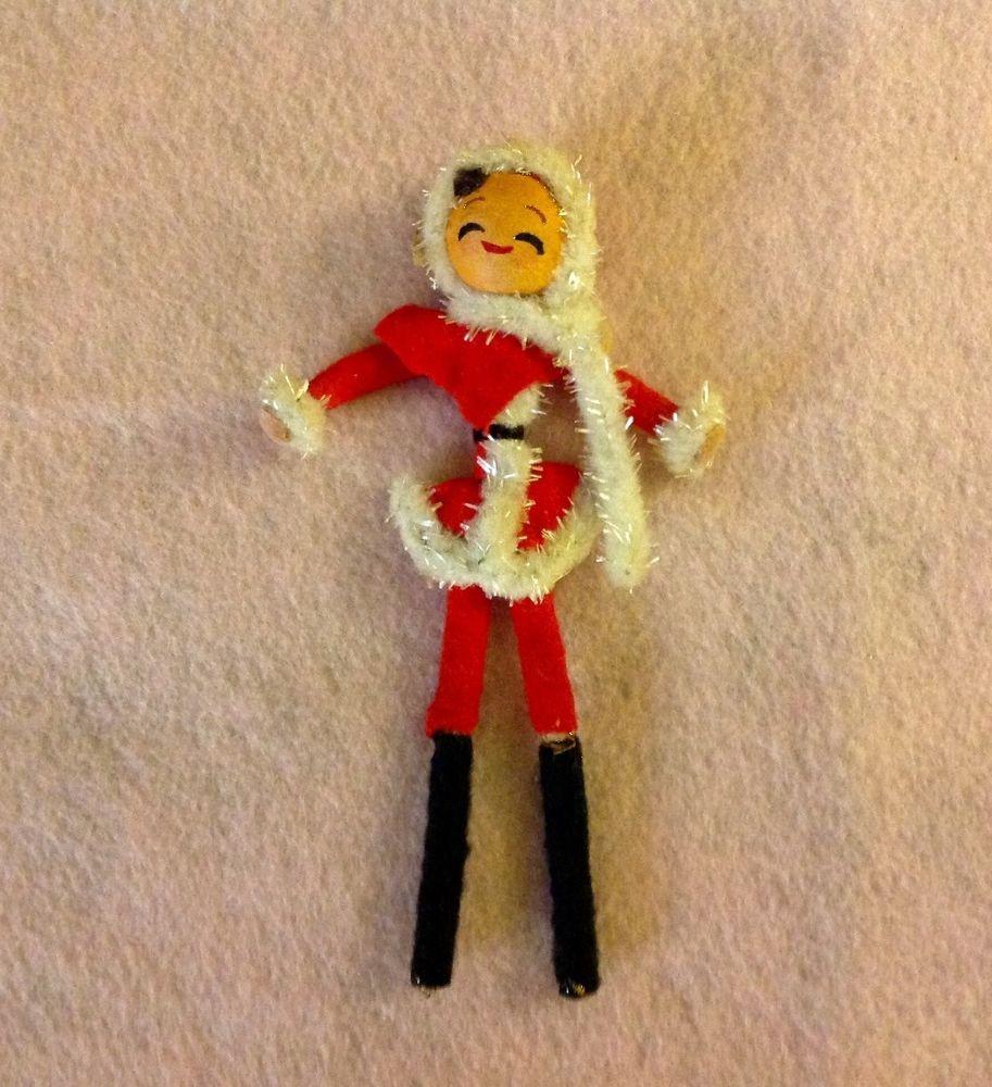 Vintage Christmas Girl, Cotton Spun Head, Chenille