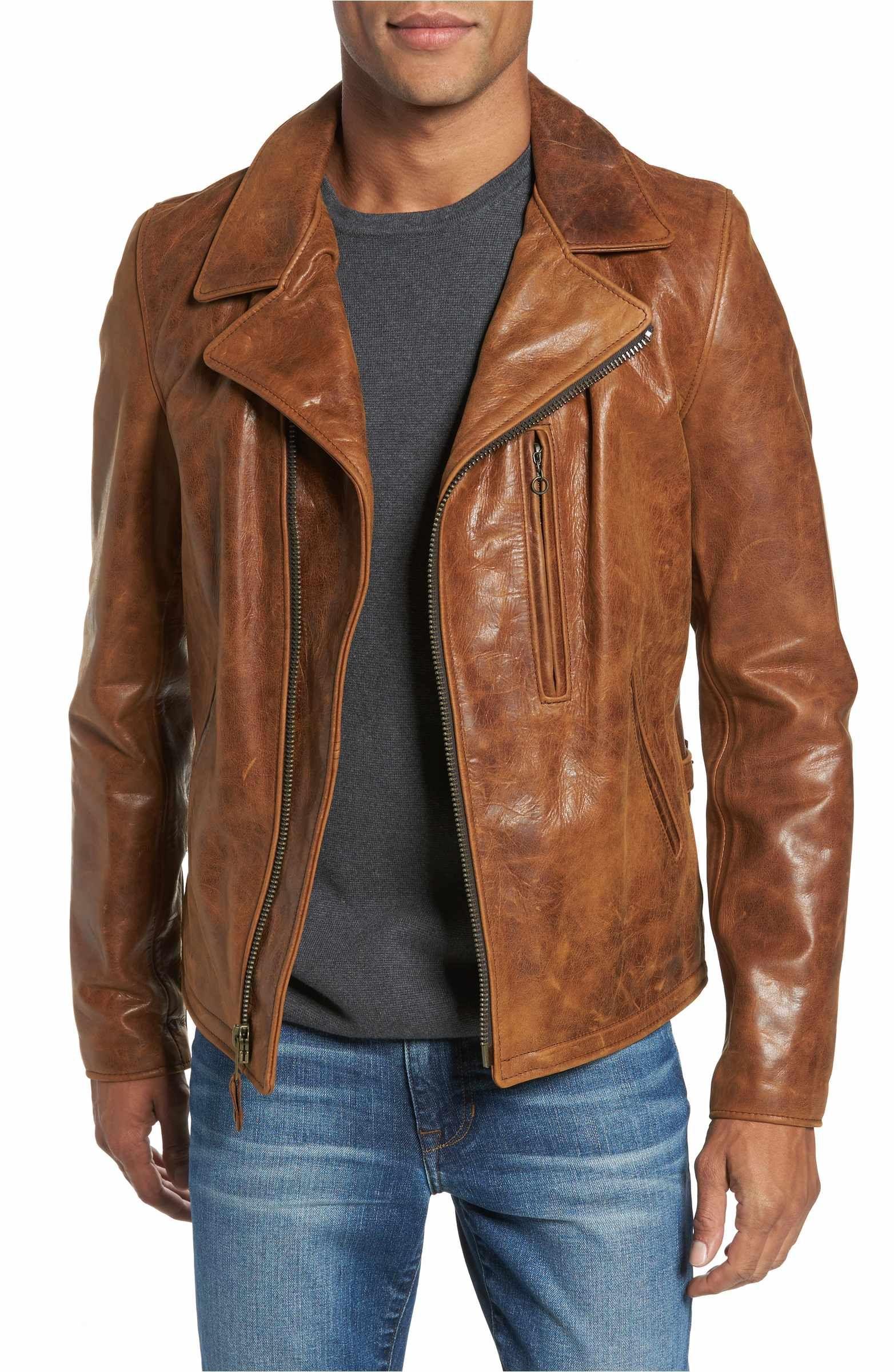 Schott NYC Asymmetrical Waxy Leather Jacket Leather