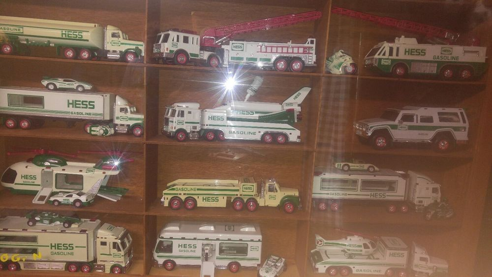 Hess Toy Truck Lot 27 From 1985 To 2016 In Display Cases With Oak