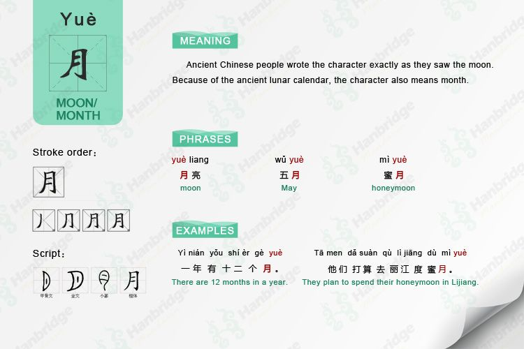 learn Chinese character- 月 month