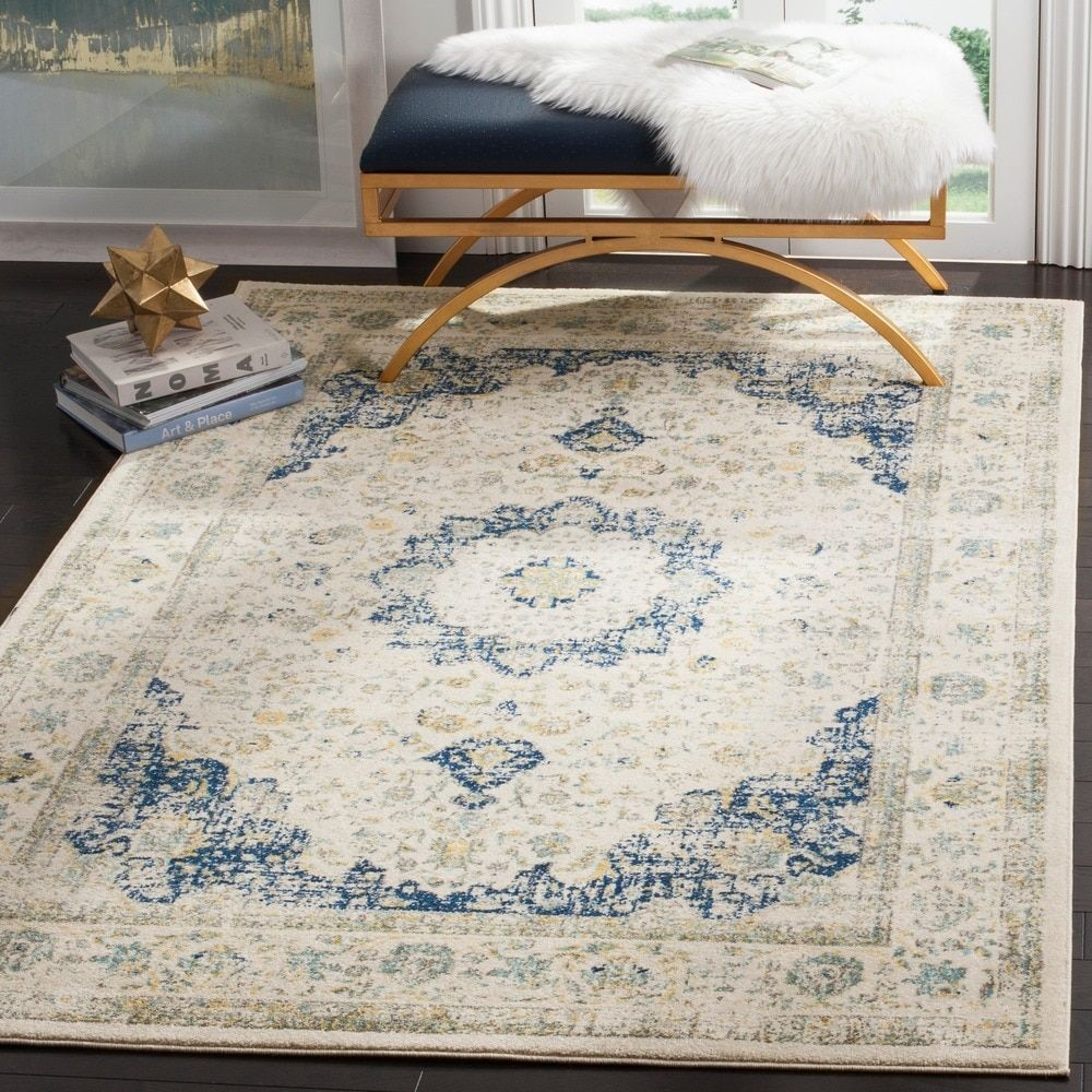 Safavieh Evoke Vintage Oriental Ivory Blue Area Rug 10 X 14 Overstock Com Shopping The Best Deals On 7x9 10x1 Vintage Area Rugs Cool Rugs Area Rugs