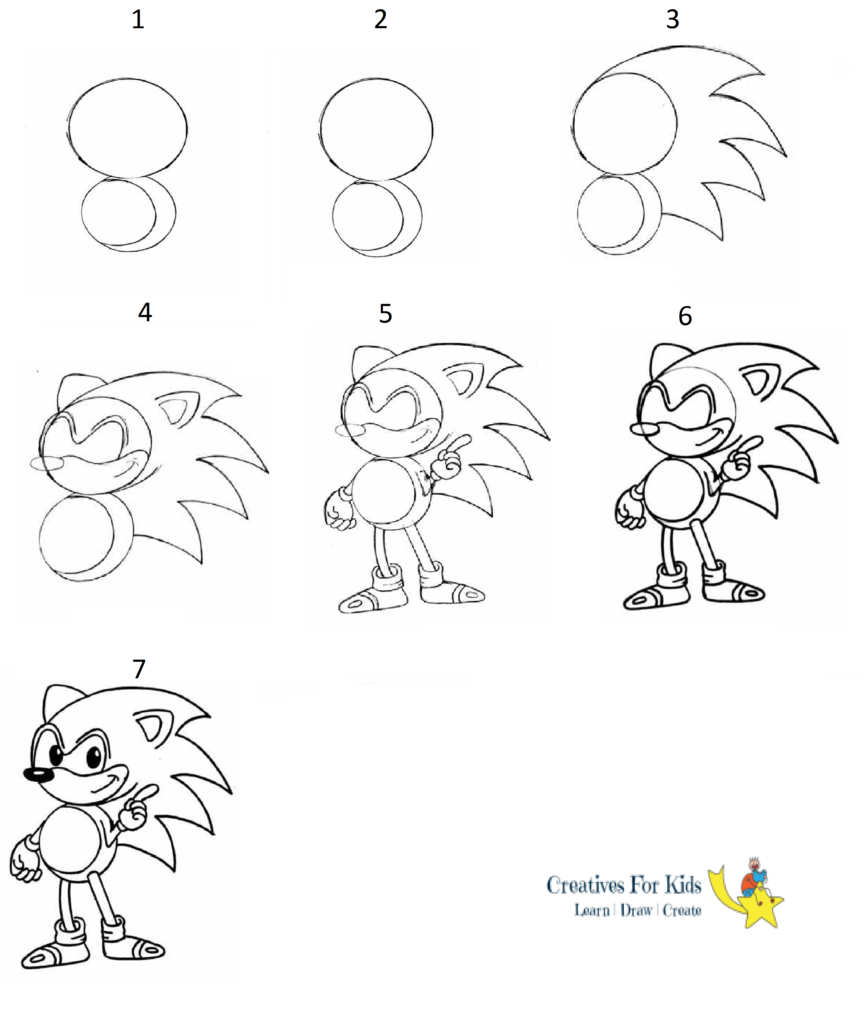 How To Draw Sonic The Hedgehog Step By Step Tutorial Sonicthehedgehog How To Draw Sonic Cute Easy Drawings Art Drawings For Kids