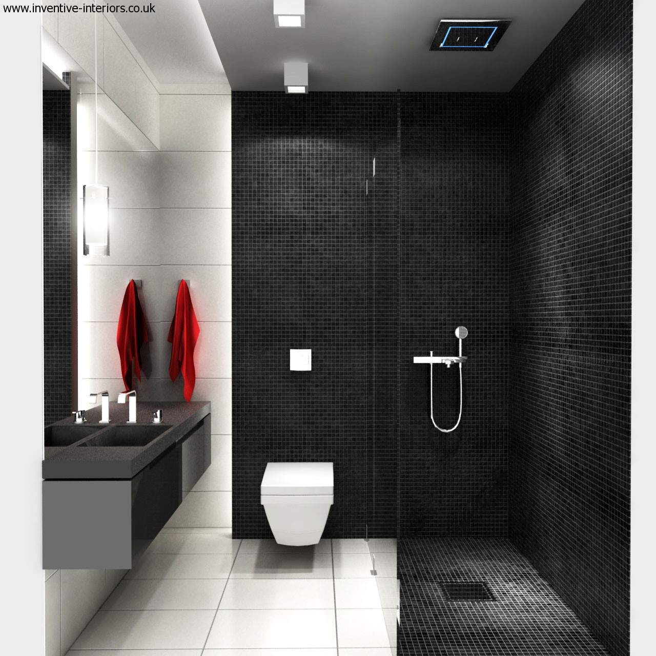 stunning bathroom idea with black wall paint color and black