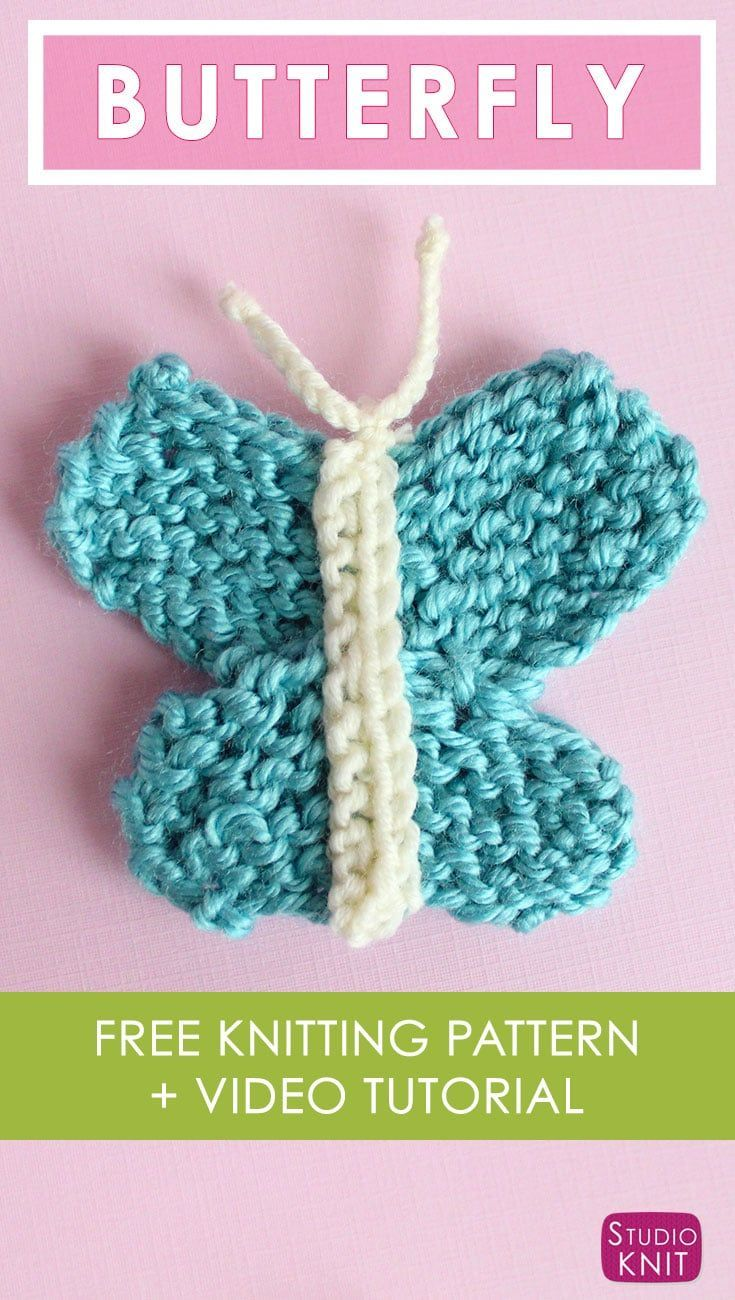 Butterfly Knitting Pattern with Easy Free Pattern + Video ...
