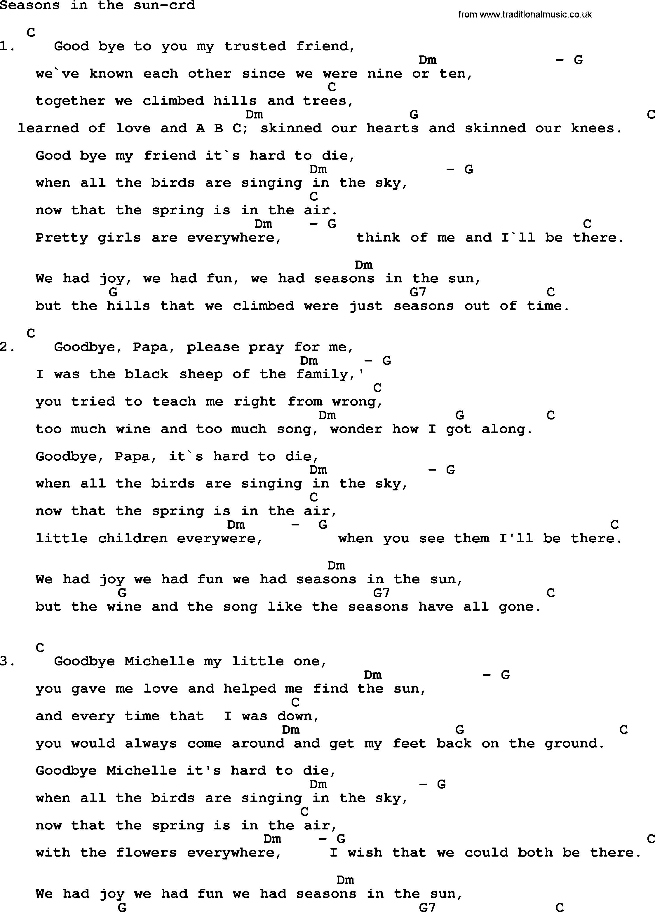 Lyrics containing the term: seasons