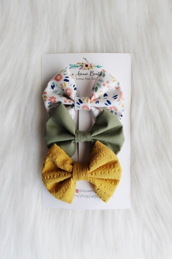 Sage Green | Mustard Yellow | White Floral Classic Hair Bow Clips