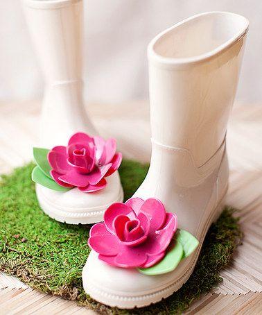 Look at this #zulilyfind! Tan & Rose Josie Rain Boot - Kids #zulilyfinds