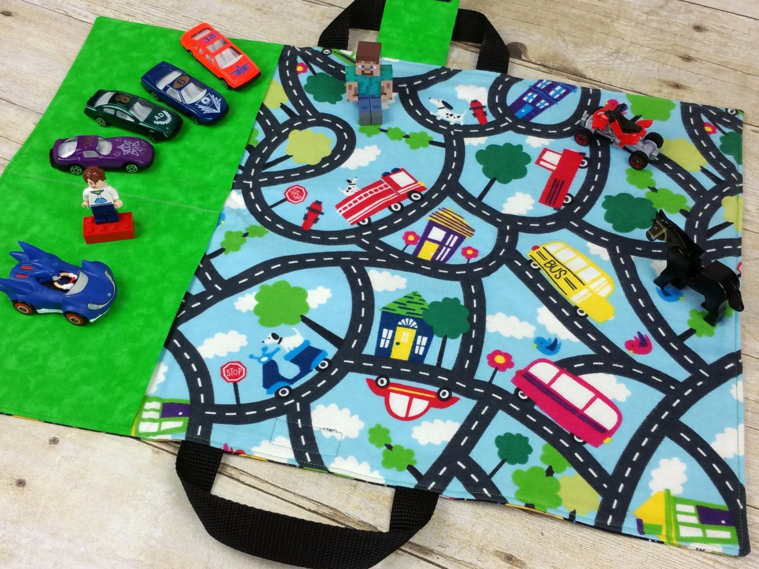 Kids Toy Car Play Mat Travel Tote For Hotwheels And Matchbox Cars