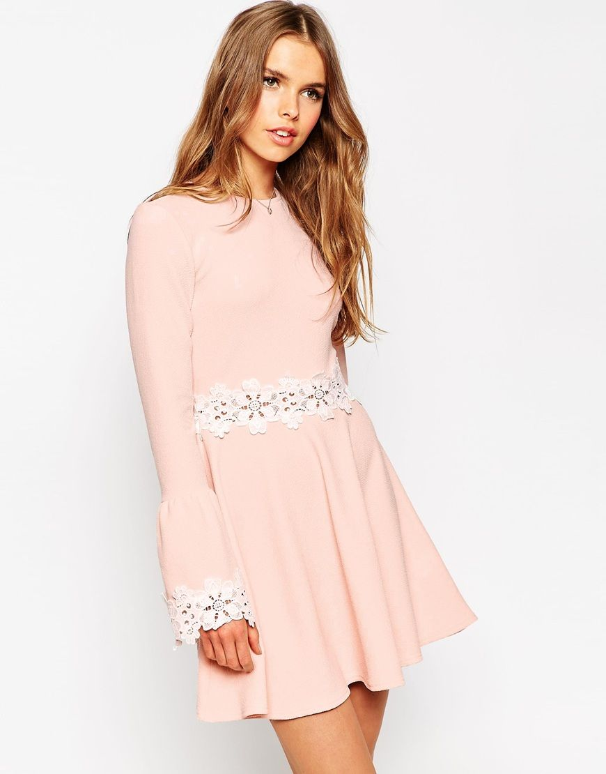 Image of asos babydoll dress with flared sleeve and lace trim