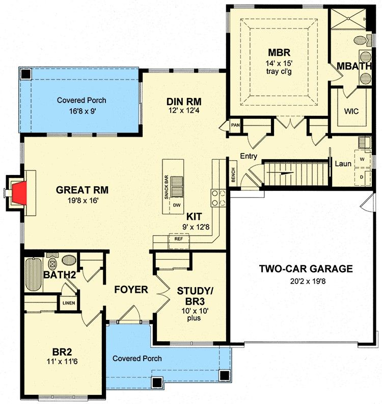 1500 Sq Ft Plan House Plans Floor Plans House With Porch