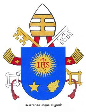 ★♥★ #Pope #Francis #Coat of #Arms ★♥★The Papal coat of arms: #crown with a triple mitre, symbolizing the Pope's three missions to teach, govern and judge. Crossed #keys of St. Peter   3 letters #emblem of #Jesuit Order, IHS - gold star for #Virgin Mary, grape-like plant representing St. Joseph, patron of Church #Vatican #catholique #Rome #papacy #Catholic #Church