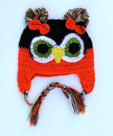 Look at this #zulilyfind! Orange & Black Owl Crocheted Earflap Beanie #zulilyfinds