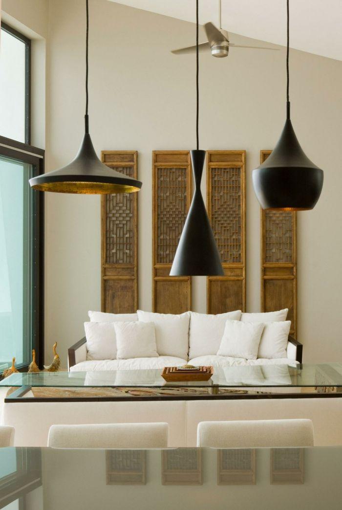 wohnzimmer moderne pendelleuchten weiße dekokissen ...