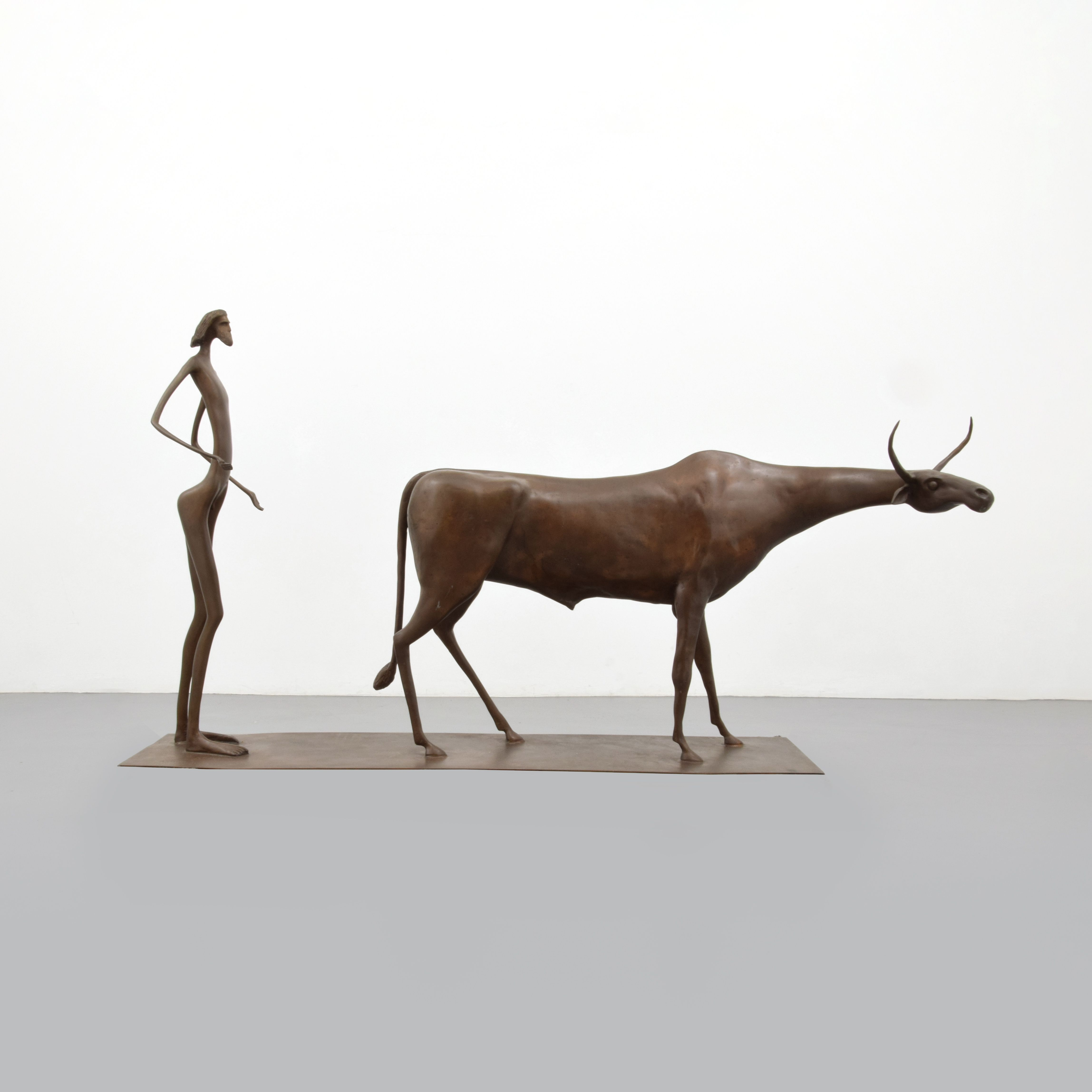 Monumental Itzik Asher Bronze Sculpture.  MARKINGS: signed; ed. 3/9; 1991.  Work is titled THE SHEPHERD. Provenance: Private Estate, Coconut Grove, Florida   Private Collection, Wilton Manors, Florida.