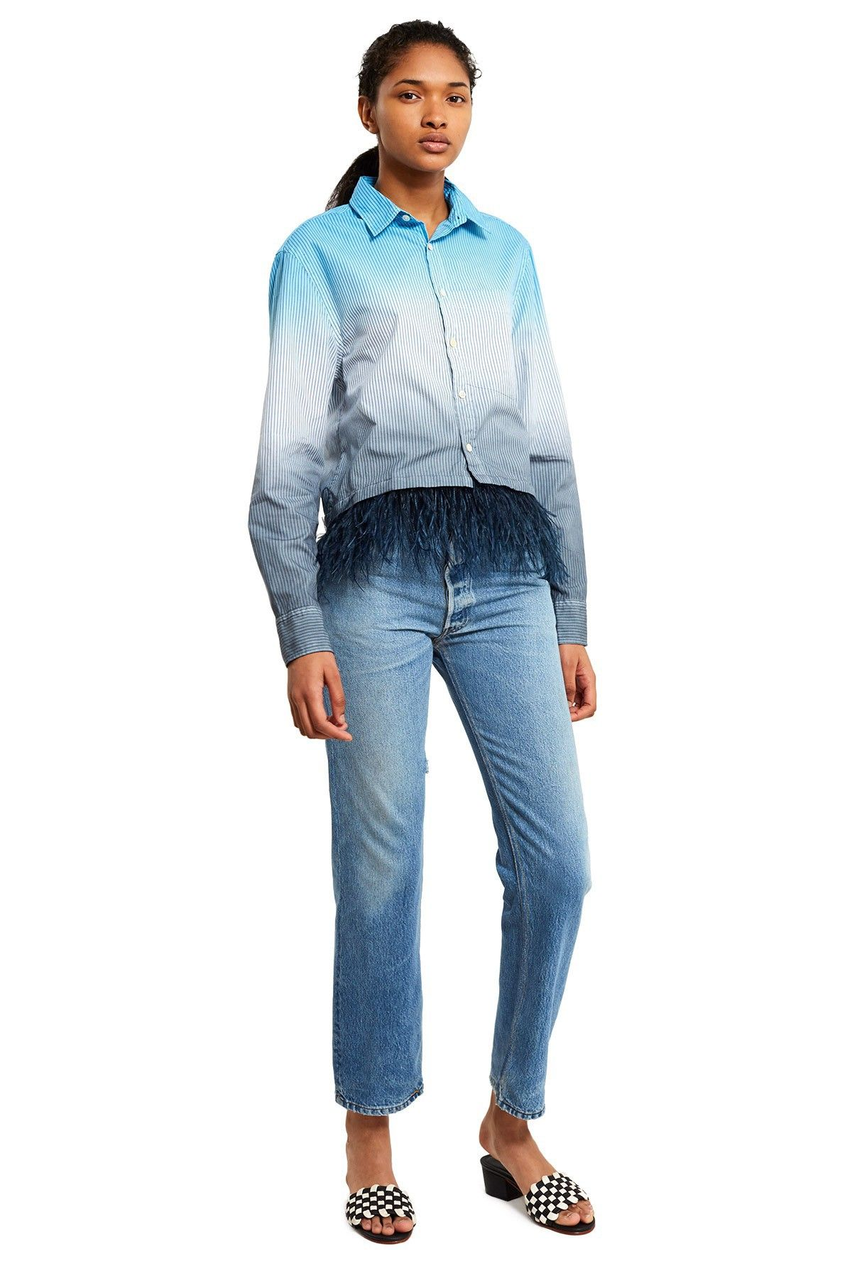 bcd574322d2a87 Opening Ceremony Dip Dye Cropped Feather Shirt - Pale Blue Multi Xs ...