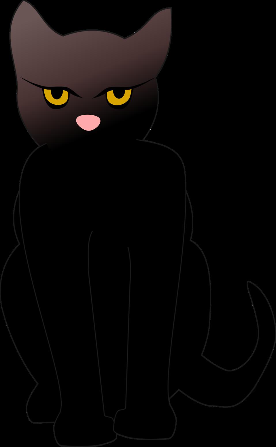 Illustrated Silhouette Of A Black Cat Free Stock Photo Black Cartoon Feline Cats