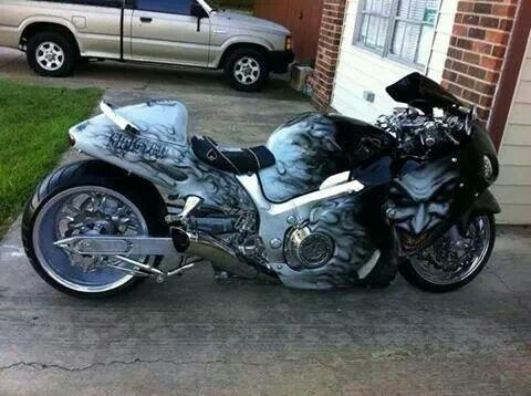 Busa With The Joker Paint Job Custom Sport Bikes Blue Bikes
