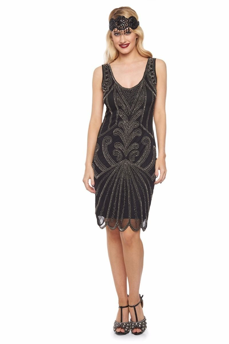 Art Deco Cocktail Dress in Black Silver | 1920s inspired dresses ...
