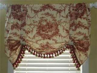 Country Red Rooster Toile Balloon Shade Valance Curtain Tie Up