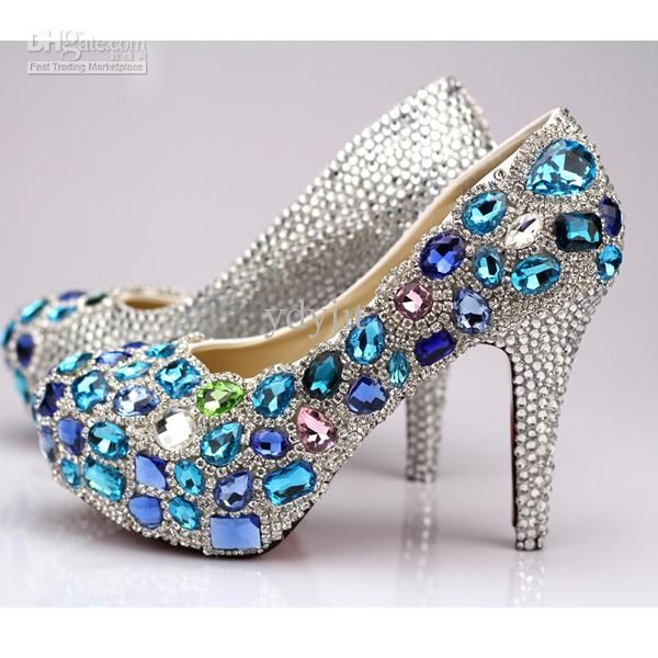 Wholesale Blue Crystal Platform Low Heeled Wedding Shoes Red