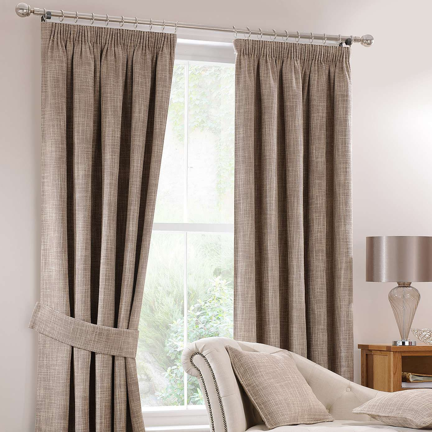Dunelm Home: Lorenza Mink Lined Pencil Pleat Curtains