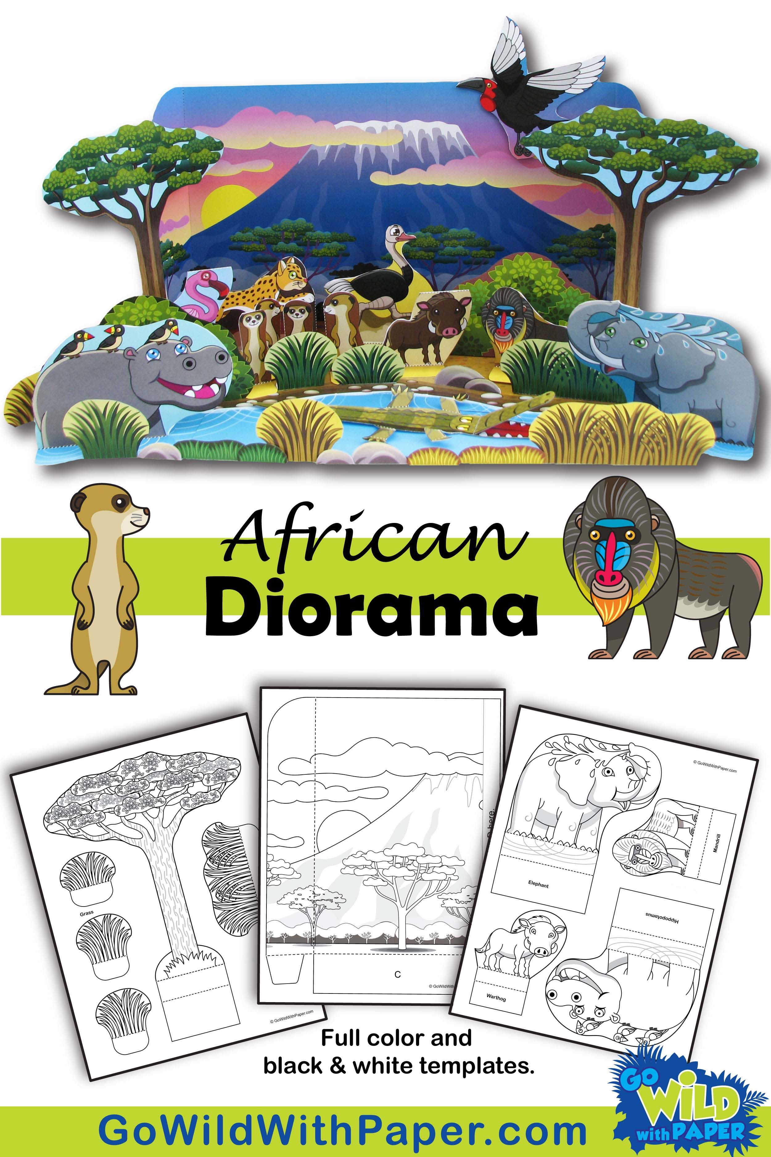 African Waterhole Diorama Project Animal Habitat Activity Diorama Kids Animal Habitats Habitat Activities