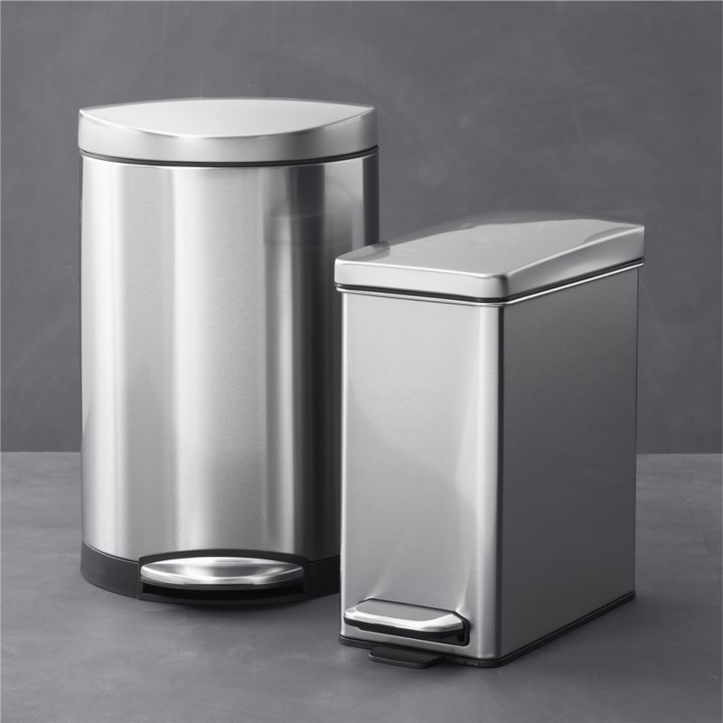 Simplehuman 10 Liter 2 6 Gallon Semi Round Stainless Steel Step