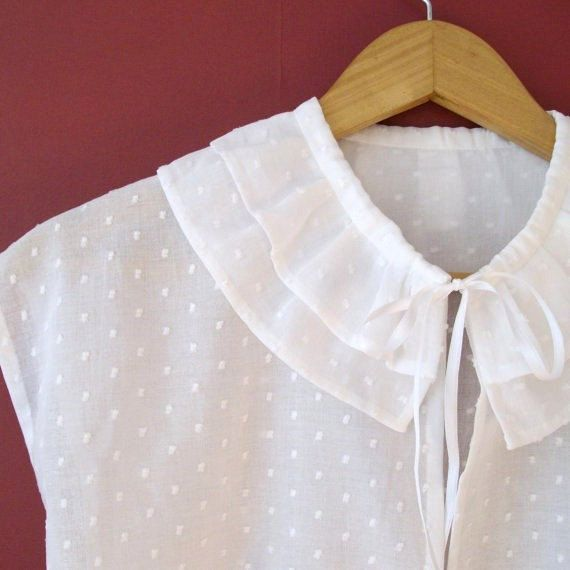 Regency Chemisette Embroidered Cotton Lawn With Ruffle Collar.