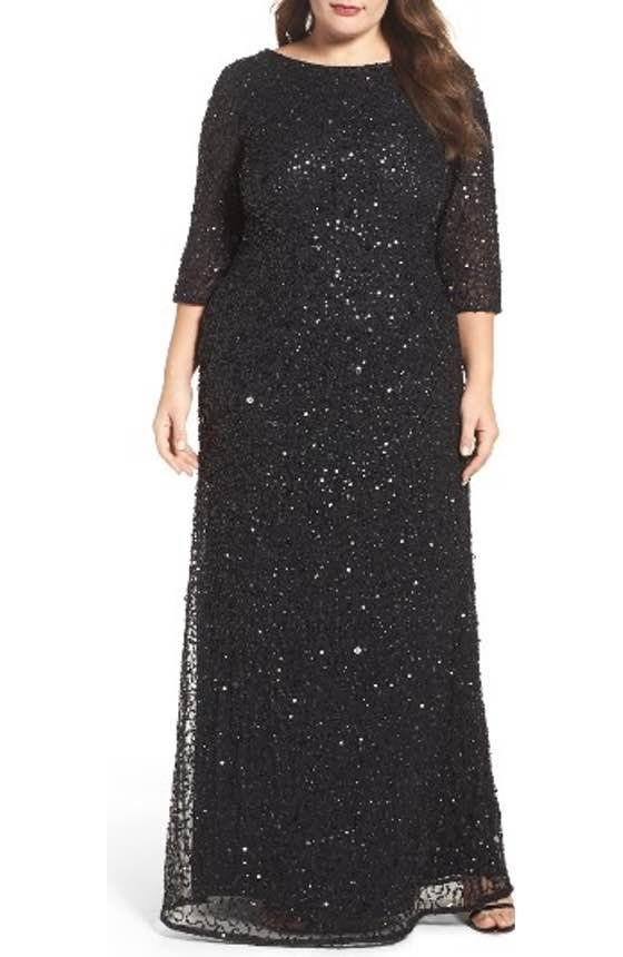 925e50e9d228 Free shipping and returns on Alex Evenings Sequin Lace Fit & Flare Long  Dress (Plus Size) at Nordstrom.com. A multitude of teensy sequins adds ...