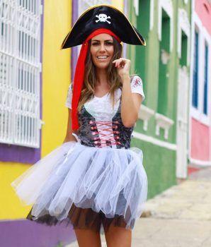 Fantasia Feminina Pirata (Apenas Blusa   4 anos Joka 34bdf824b4