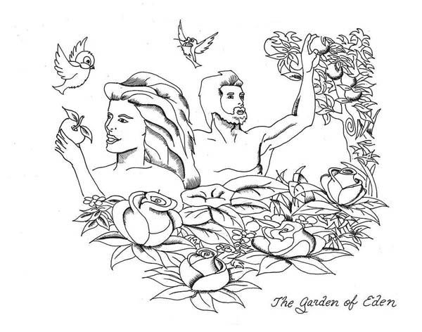 Adam and Eve Rebellion to Lord God in Garden of Eden Coloring Page ...