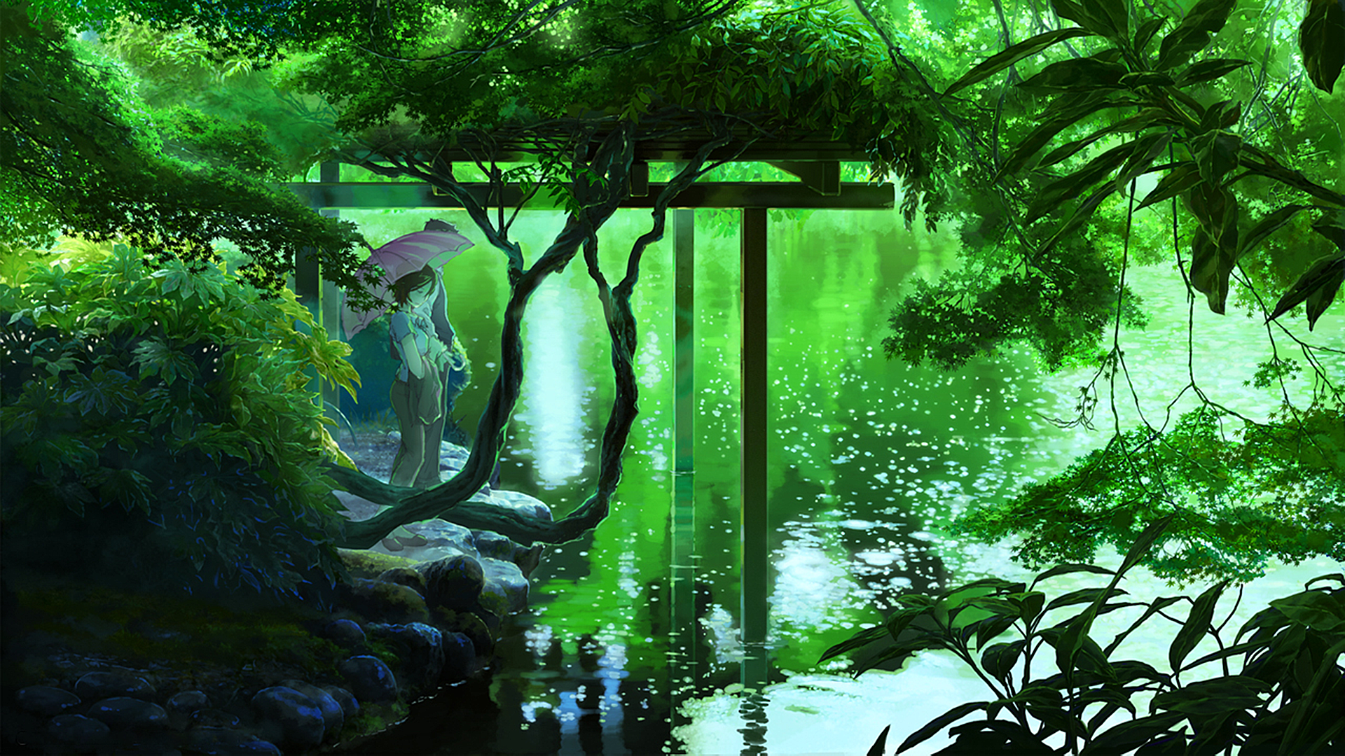 Lakes Plants Umbrellas Forests The Garden Of Words Nature Anime Green Wallpaper No 159011 Garden Of Words Plant Wallpaper Samsung Wallpaper
