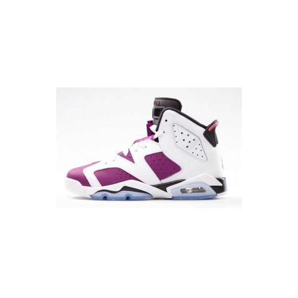 online store fa3bb 37ac6 Nike Air Jordan 6 GS White Vivid Pink-Bright Grape-Black 543390-127 ❤ liked  on Polyvore featuring jordans and shoes