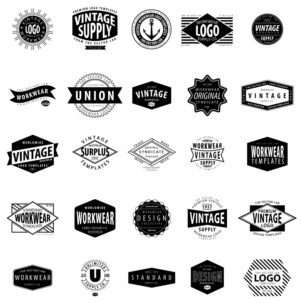 Vintage Logo Templates for Adobe Illustrator | LOGOS | Pinterest