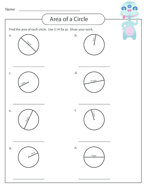 Area of a Circle Worksheet 2 | 6th grade | Area of a circle ...