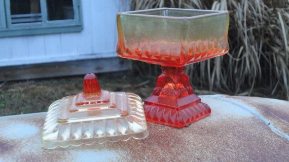 6dfafa37cd00 Orange Glass Candy Dish with Pedestal and Lid. Square. Collectible ...