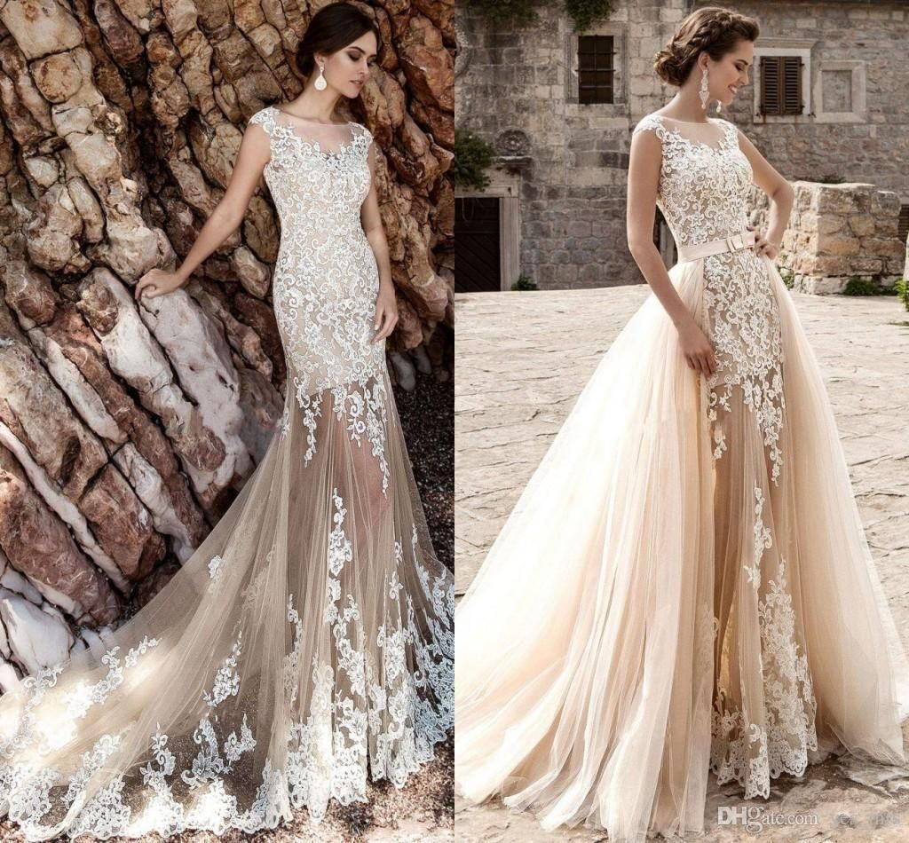 2017 A Line Sheath Wedding Dresses Jewel Neck Sheer Champagne Tulle White Lace Liques Overskirts Detachable Train Custom Bridal Gown Modern