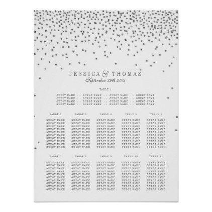 Vintage Glam Silver Confetti Wedding Seating Chart