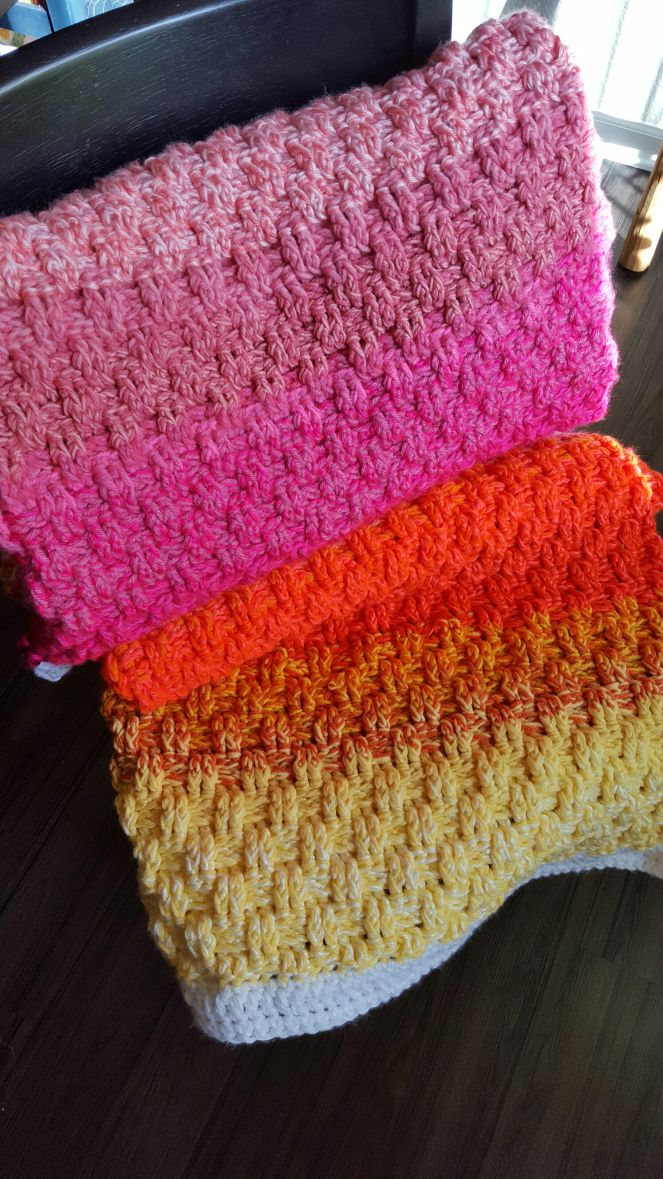 Double Stranded Ombre Basket Weave Blanket Blanket Scrap And Yarns