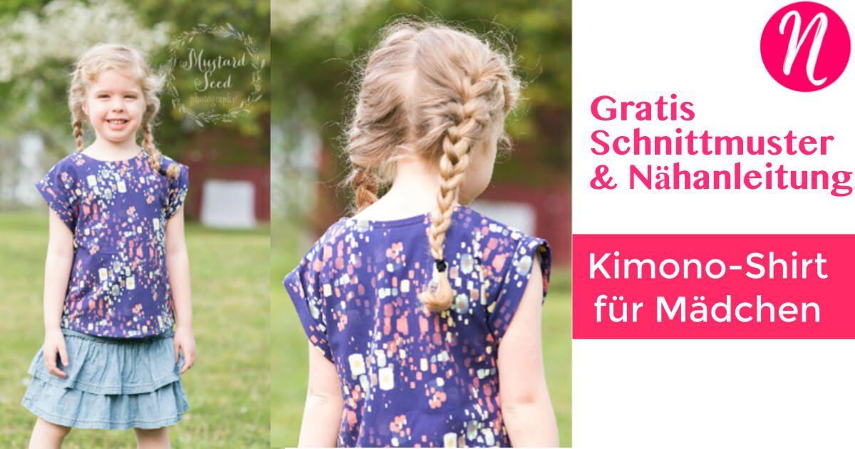 Kimono T-Shirt für Mädchen – Freebook | Nähen | Sewing, Pattern und ...