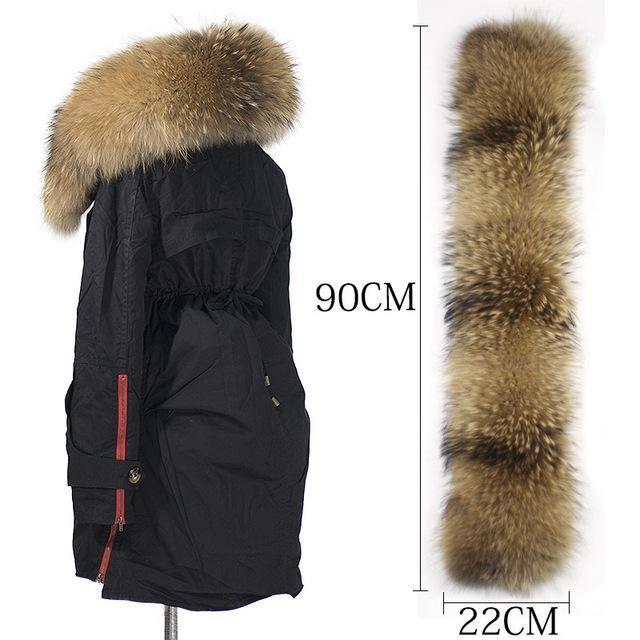 e6c225b5f New Winter Jacket Women Coats Real Large Raccoon Fur Collar Female ...