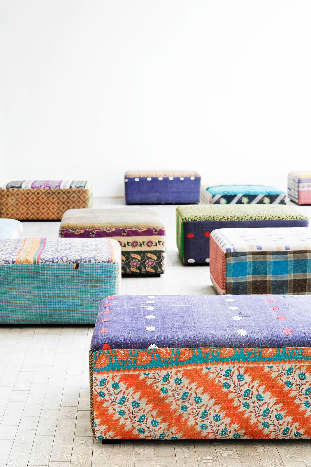 Hay Hocker hocker mags antique quilt ottoman 5 linen blanket rug
