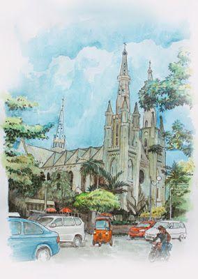 Jatmika Sketch Drawing Sketsa Katedral Jakarta Katedral Sketsa Kota Sketsa