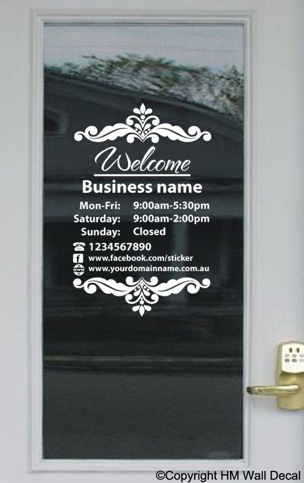 Custom opening trading hours vinyl lettering sticker business shop sign