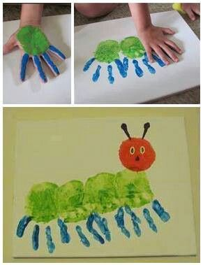 centipede with paint and handprints