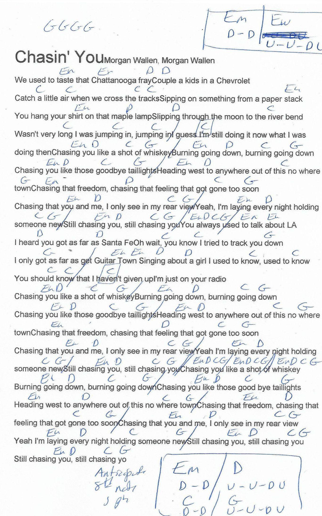 Chasin You Morgan Wallers Guitar Chord Chart Guitar Chord