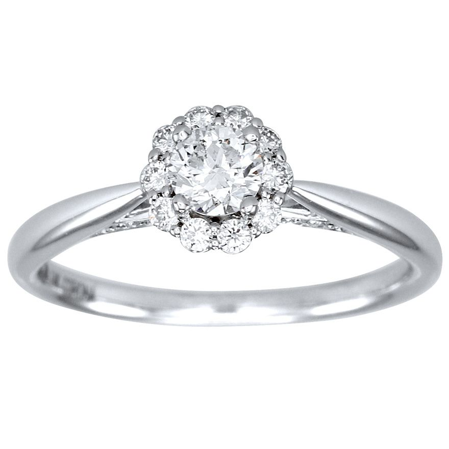 Canadian Diamond Cathedral Engagement Ring In White Gold Tw By Ann Louise Jewellers
